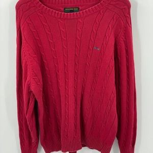 Alexander Julian | Red Cable Knit Sweater, Sz. L